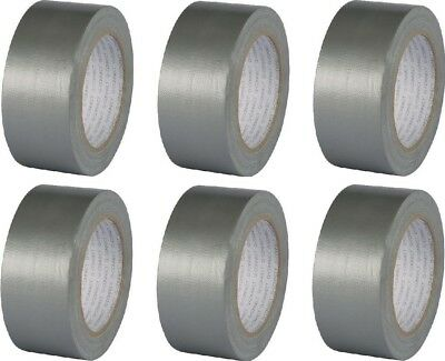 6 x Q-Connect Silver Duct Tape 48mm x 25m Roll - Industrial Home + Office