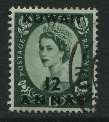 Kuwait: 1952 QE2 12 annas on 1/3d stamp SG101 Used - select from list - AF343
