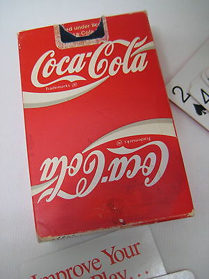 Coca Cola Playing Cards Full Deck w Jokers & Info Cards 1989 Plastic Coated Used