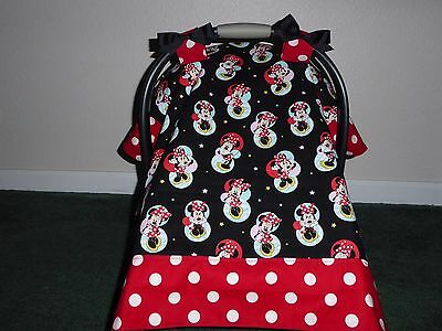** MINNIE MOUSE** w/bows  Handmade Baby Infant Car Seat Canopy-Cover