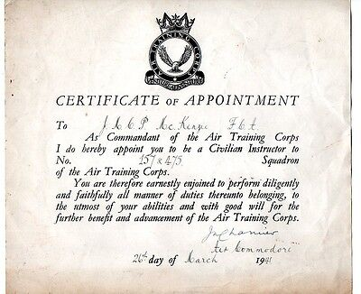 Early Air Training Corps Civilian Instructor Certificate Of Appointment 3/41