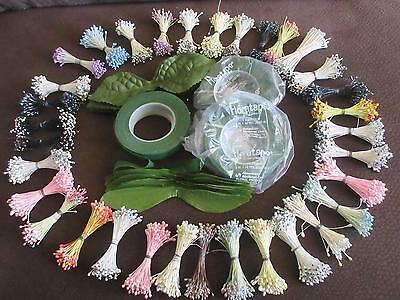33 BUNCHES DOUBLE SIDED FLORAL STAMENS Millinery LEAVES & 4 ROLLS OF FLORAL TAPE
