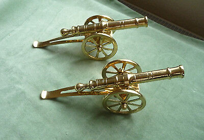 Vintage Pair Of Solid Brass Cannons