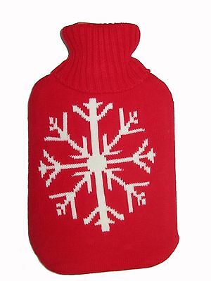 2L Knitted Hot Water Bottle Natural Rubber Warmer 2 Litre Large Pain Relief Heat