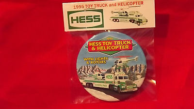 "1995 Hess Toy Truck and Helicopter 3"" Pin Back Button Repackaged New 150"