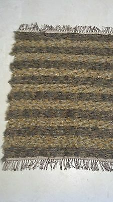 Amish Made Loom Rug Brown Grey Yellow with White Brown Fringe 38 Inch Rectangle