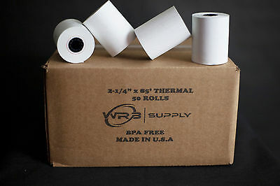 "2 1/4"" x 85' White Thermal Paper Credit Card & Cash Register Tape"