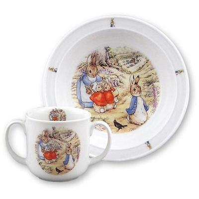 Beatrix Potter Toddler's 2- handle Cup and Bowl - Peter Rabbit Reutter Porcelain