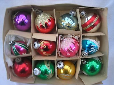 Vintage Old Selection Of 12 Glass Christmas Tree Decoration Ornament Baubles