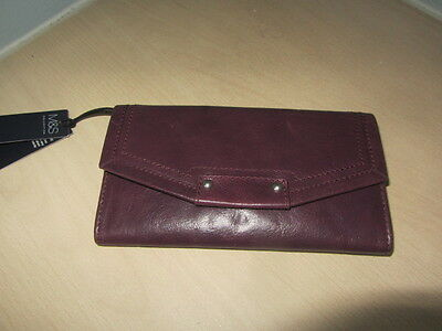 Marks And Spencers Maroon Faux Leather Card Safe Purse Brand New With Tags
