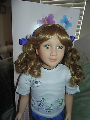 """My Twinn 23"""" Doll Blonde Curls, Blue Eyes NEW IN BOX Plus NEW 6 Pc Outfit RARE"""