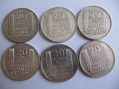 Lot 6 Pieces De 20 Francs Turin Argent Differentes