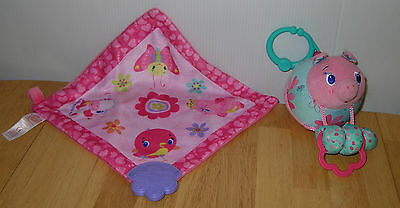 Baby Girl Toy Lot Teether Crinkle lovey butterfly pig flower hanging car seat