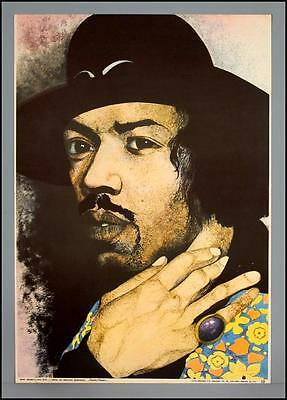 JIMI HENDRIX - rare vintage original early 1970s art poster by Aguilan