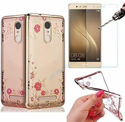 Bling TPU Silicone Glitter Chrome Soft Gel Case Cover + Tempered Glass Huawei