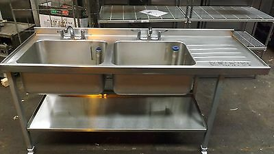 Commercial All Stainless Steel Twin Bowl Catering Sink With Right Hand Drainer