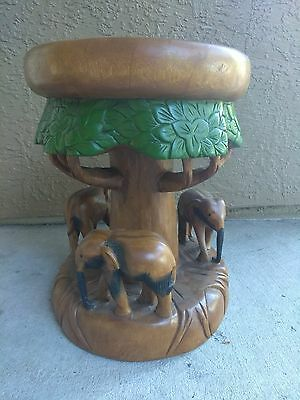 AMAZING! Antique Handcarved!! Wood Elephant Stool. (1 Of a Kind) GR8t DETAILS!!!