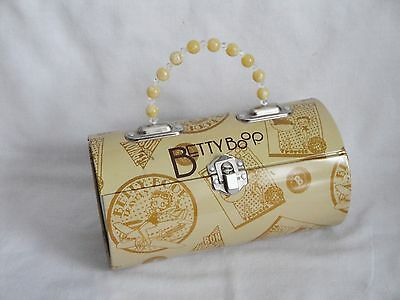 RARE Betty Boop TIN BOX Lunchbox Purse Case Beaded Handle Bon Voyage