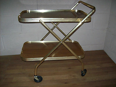 Retro Vintage 1970s Two Tier Metal and Wood Folding Drinks/Serving Trolley