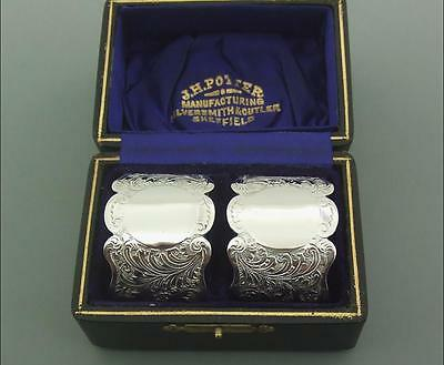 A Cased Pair Of Victorian Solid Sterling Silver Napkin Rings Charles Horner