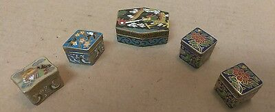 Lot of 5 Vintage Enamel Over Solid Brass Small Pill/Snuff Trinket Box. Dif Sizes