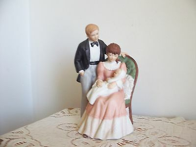 """HOMCO Home Interiors Figurine #1401 """"Our Pride and Joy"""" Mom, Dad and Baby"""