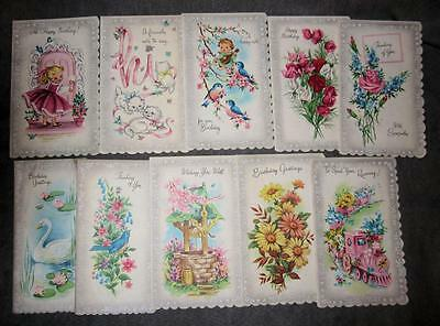21 Vtg Parchment Charm Greeting CARDs in BOX, Envelopes Bluebirds Kittens Puppy
