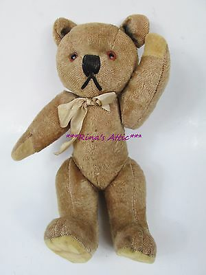 """Old Antique Vintage Jointed Mohair Teddy Bear Squeaker 10"""" Hump"""