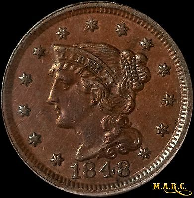 1848 AU50 PCGS 1C Braided Hair Large Cent, Nice Even Brown Color! Free Shipping!