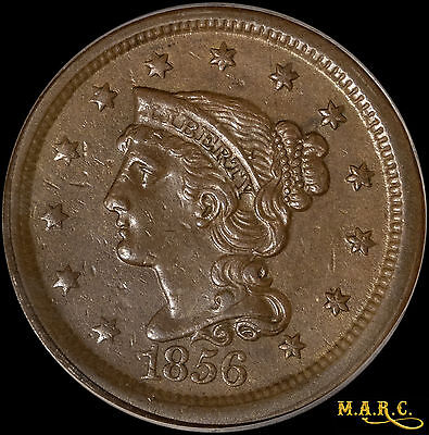 1856 AU50 PCGS 1C Braided Hair Large Cent, Nice Type Coin! Free Shipping, MARC