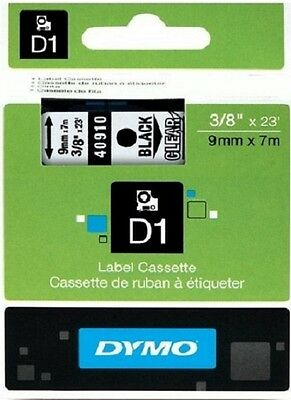 "ORIGINAL DYMO 40910 D1 3/8"" X 23' 9mmX 7M BLACK on CLEAR LABEL TAPE RUBAN NASTRO"