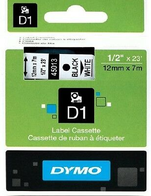 12 mm x 7M DYMO LABEL D1 45013 RUBAN NOIR BLANC BLACK on WHITE TAPE ZWART op WIT