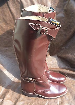 Polo Player Riding Tall Boots Mens 8 Womens 9.5 Front Zipper Brown PatentLeather