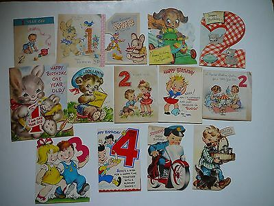 14 Cute Vintage 1940s Birthday Greeting Cards-1-4 Year Old Birthday Cards