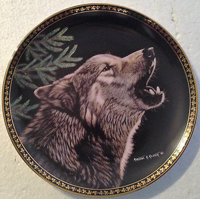 Collectable Wolf Plate 8 1/4 Inches - Moon Song -  Hamilton Collection