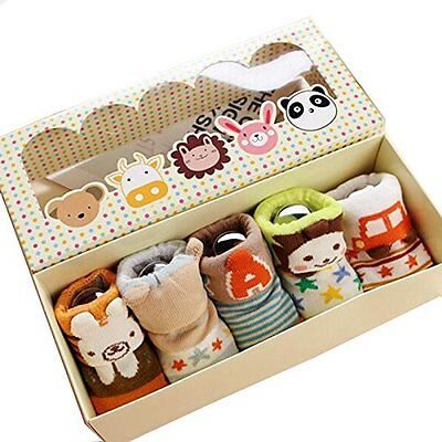 New Fly-love 5pairs Non-Skid Slip Toddler Socks Cotton Baby 0-12 months With Box
