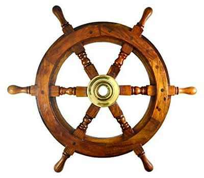 new Vintage Boat Ship Steering Wheel Brass Hub Wood Wooden Decor Nautical Pirate