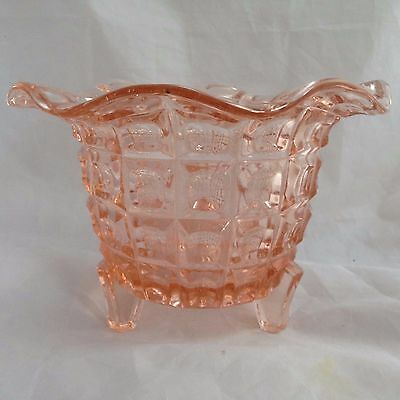 Vintage pink pressed glass planter bowl with 3 feet