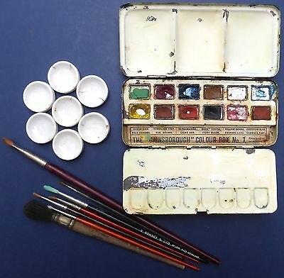 Antique Gainsborough Japanned Watercolour Paintbox Finger Ring + Mixing Dishes