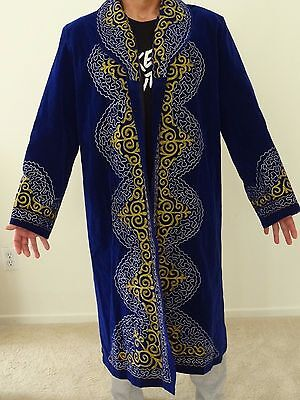 Hand Embroidered Traditional Kazakh Men's Coat Garment Shapan
