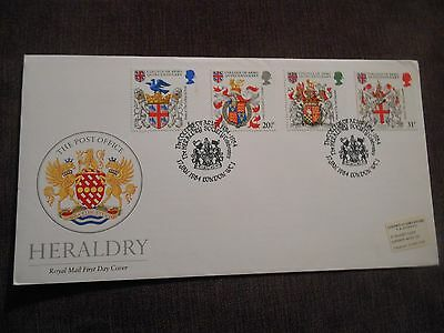 STAMPS GREAT BRITAIN FDC 1984 HERALDRY.GOOD CAT VALUE.special handstamp