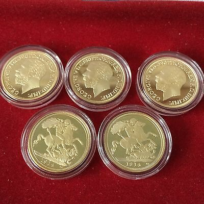 Joblot X5 King George V 1914 22k Full Sovereign Gold Plated Coin Collectors Item