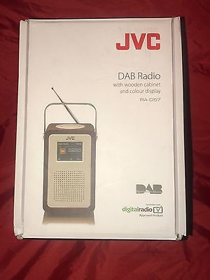 JVC RA-D57 Portable DAB Radio with Wooden Cabinet and Colour Display (7 Watt)