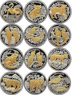 Liberia 12 x 10 $ 2005 Complete set Endangered Wildlife with diamonds 12 x Ag999