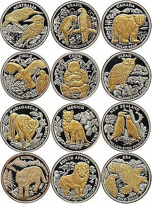 Liberia 12 x 10 $ 2004 Complete set Endangered Wildlife with diamonds 12 x Ag999