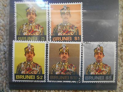 Stamps Brunei Sultan Key Top Values Fine Used Cat Value £68