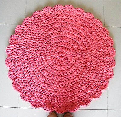 "Red Handmade Crochet  Area Rug 31"" Round Tricot Knit Design Washable"