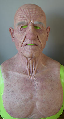 Made To Order Realistic Silicone Old Man Mask With Punched Eyebrows