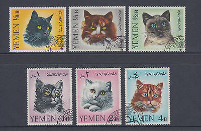Yemen 1965 Cats Set SG R99-R104 Pre-Cancelled Hinged