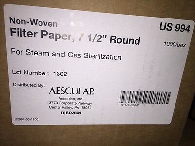 """1000x  Aesculap Non-Woven Filter Paper 7 1/2"""" Round - Model US 994"""